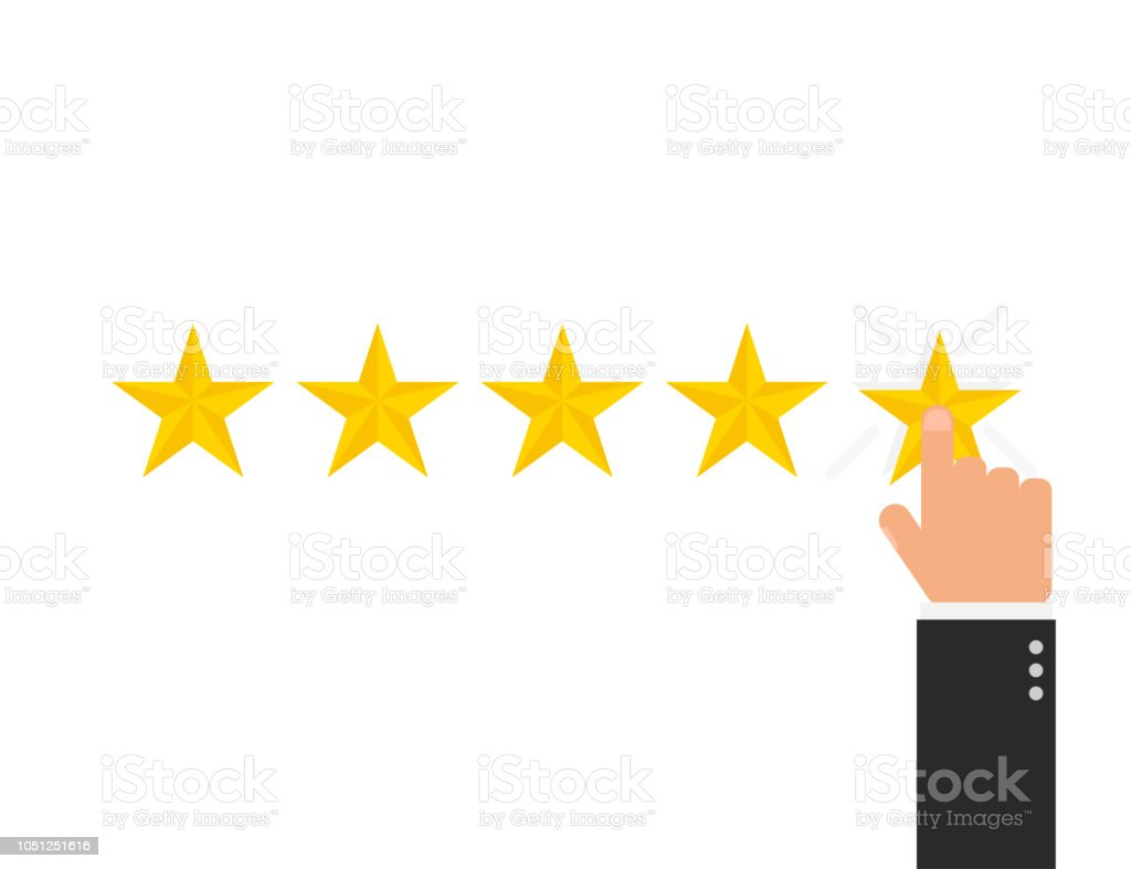 Reating star 5 with hand in flat style, vector royalty-free reating star 5 with hand in flat style vector stock illustration - download image now
