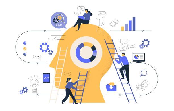 сreative grafiki biznesowej, firma zajmuje się wspólnym poszukiwaniem pomysłów, abstrakcyjnej głowy osoby, wypełnionej pomysłami myślenia i analityki, zastępując stare nowe. ilustracja wektorowa. - umiejętność stock illustrations