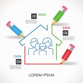 Creative splash pencil and house with family icon. Infographics family background. File is saved in 10 EPS version.