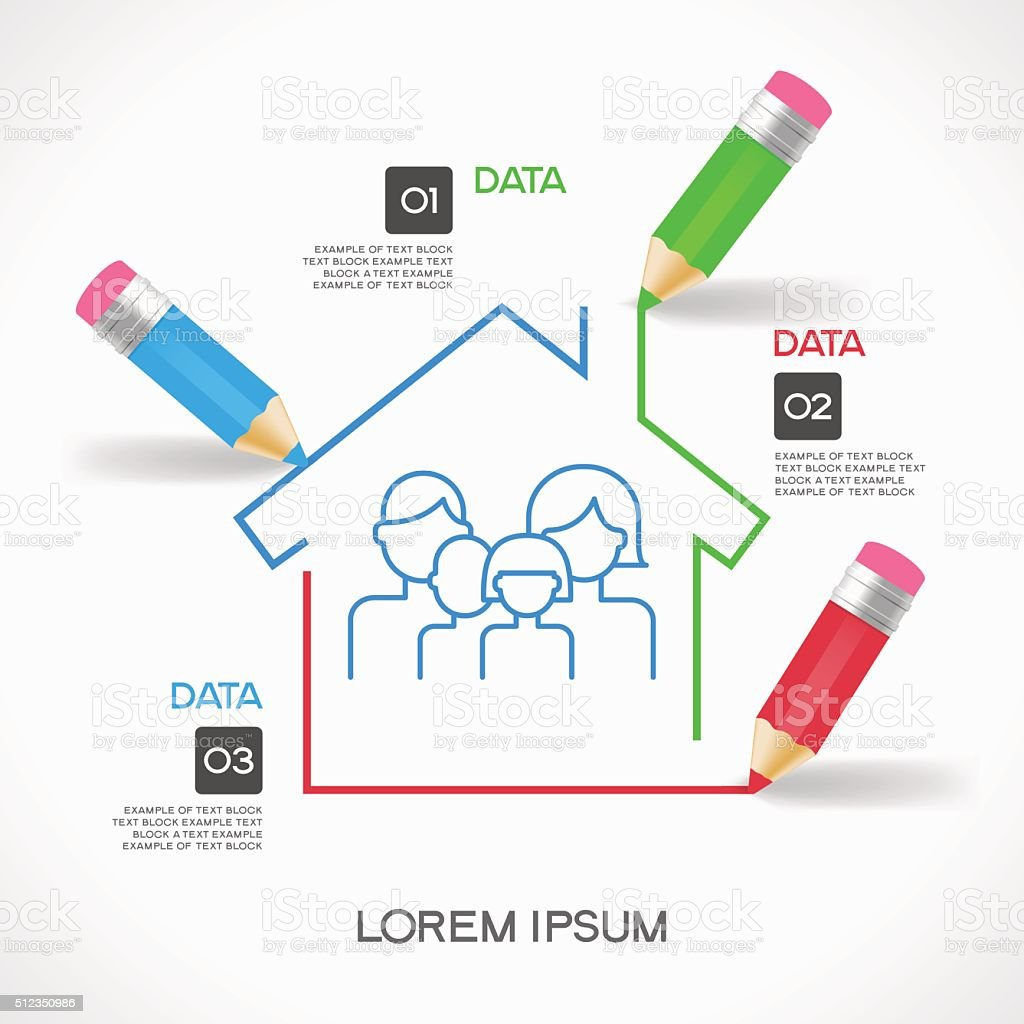 Сreative splash pencil and house with family icon. vector art illustration