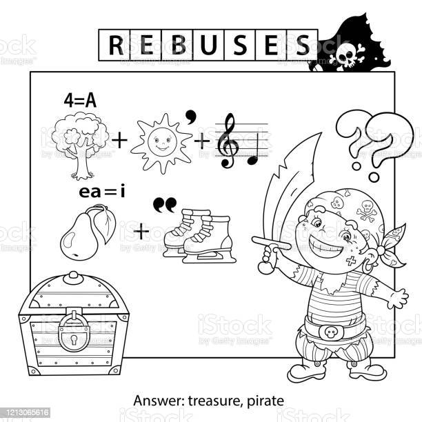 Rebus Or Logic Puzzle Game For Children Coloring Page Outline Of Cartoon Pirate With Treasure Chest Coloring Book For Kids Stock Illustration Download Image Now Istock