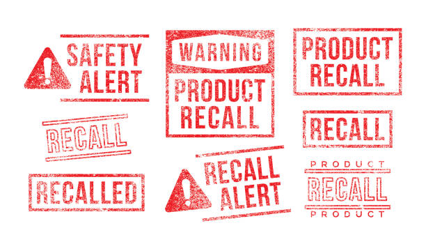 Recall Rubber Stamps Product Safety Alert Warning vector art illustration