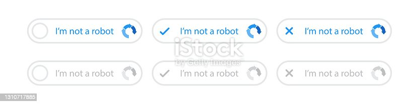 istock Recaptcha icons set. Confirmed and rejected recaptcha icon. I'm not a robot button. Captcha, I'm not a robot. Internet technology. Internet security.  Vector web button. Vector illustration. 1310717885