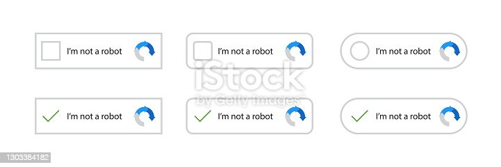 istock Recaptcha, I'm not a robot. Confirmed recaptcha. I'm not a robot button set. Website security. Internet safety. Vector web button. Stock vector Illustration for website or application. Vector 1303384182