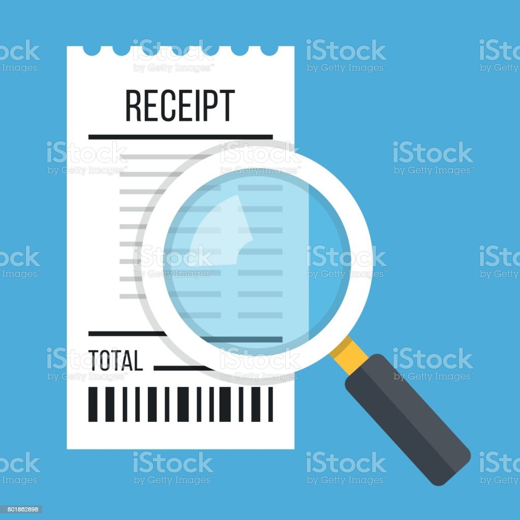 Receipt and magnifying glass. White bill and magnifier. Modern flat design concept. Vector illustration vector art illustration