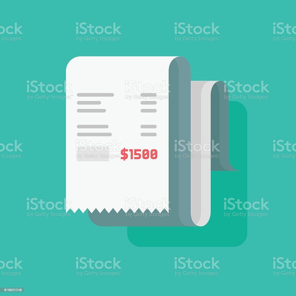 Receipt bill vector illustration, paper invoice, check icon vector art illustration