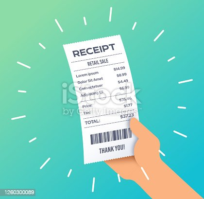istock Receipt for Purchase 1260300089