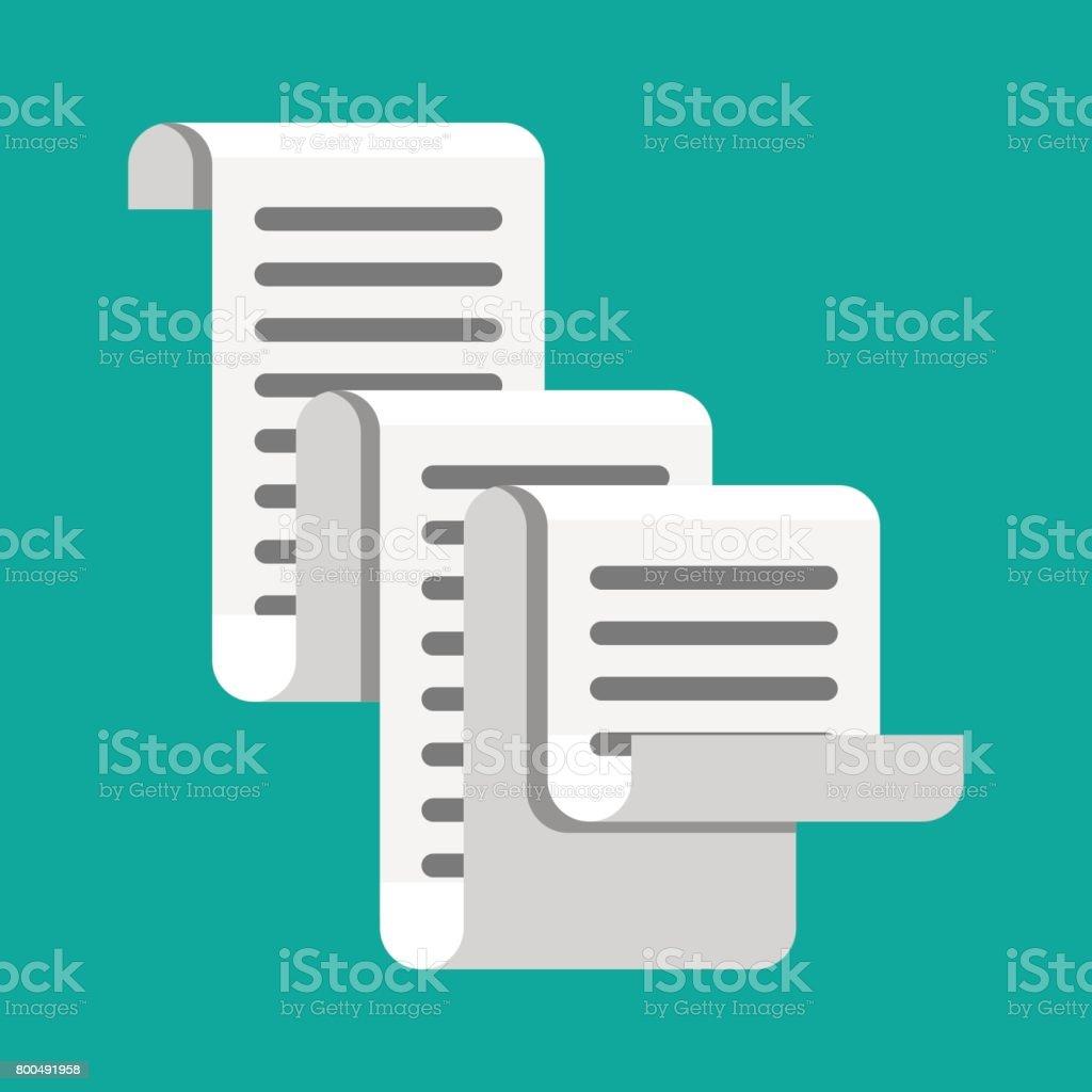 Eingangsymbol Rechnung In Papierform Gesamtrechnung Vektor ...
