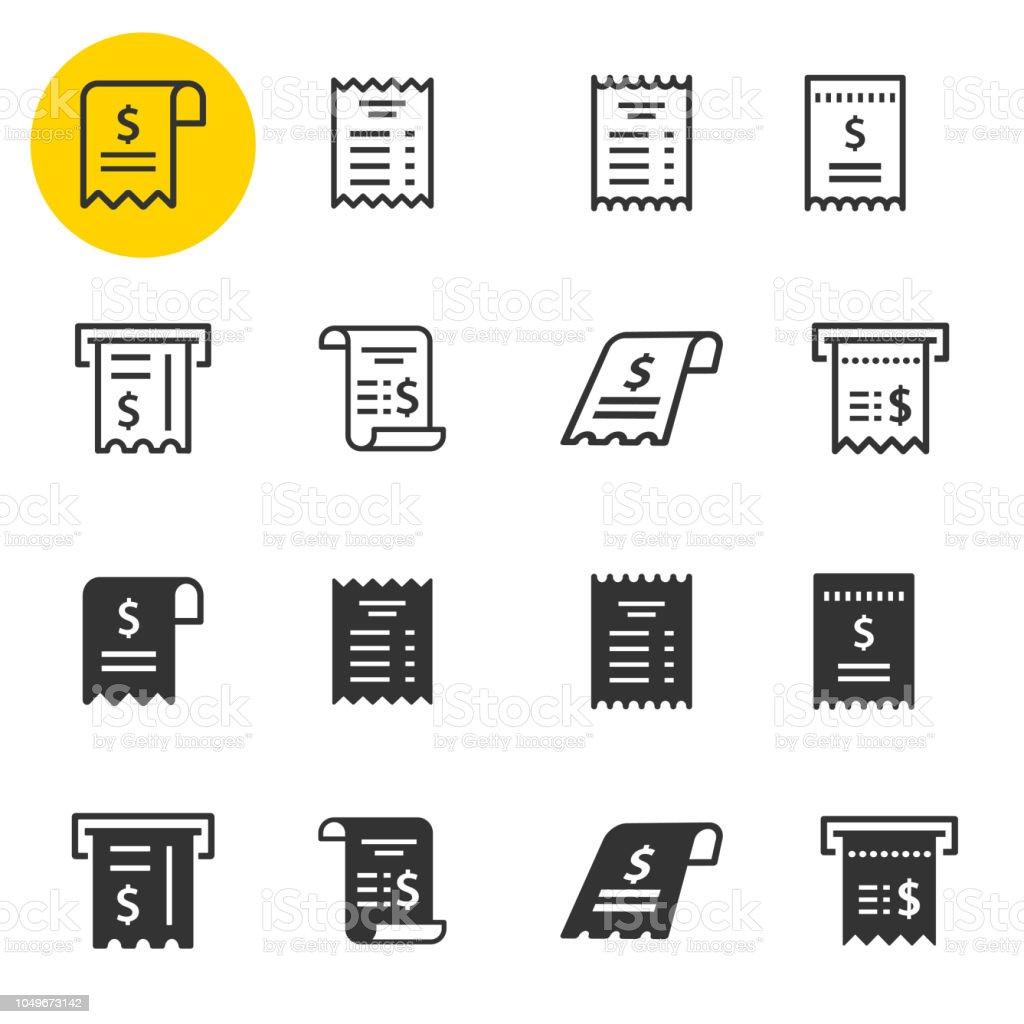 Set di icone della ricevuta. Illustrazioni isolate su bianco. - arte vettoriale royalty-free di Affari