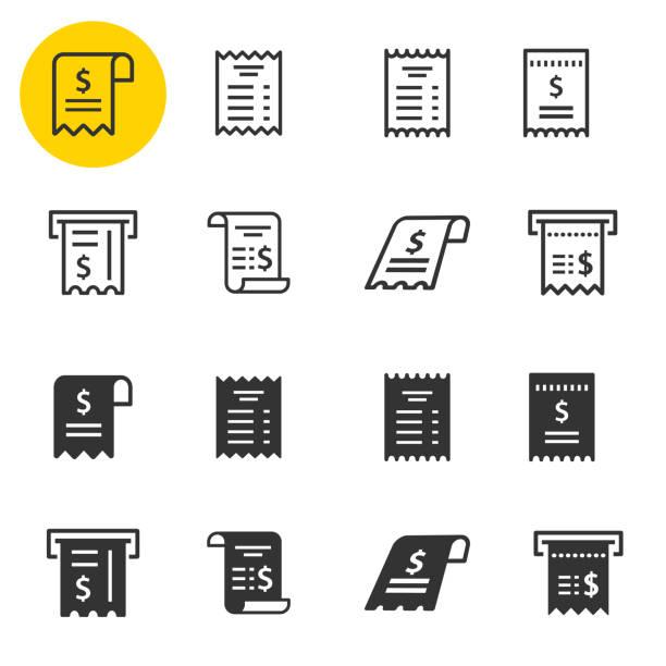 illustrazioni stock, clip art, cartoni animati e icone di tendenza di set di icone della ricevuta. illustrazioni isolate su bianco. - scontrino