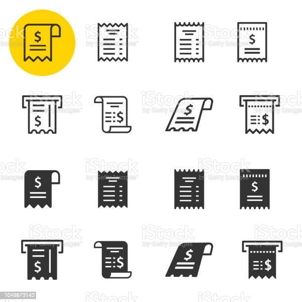 Set Di Icone Della Ricevuta Illustrazioni Isolate Su Bianco - Immagini vettoriali stock e altre immagini di Affari