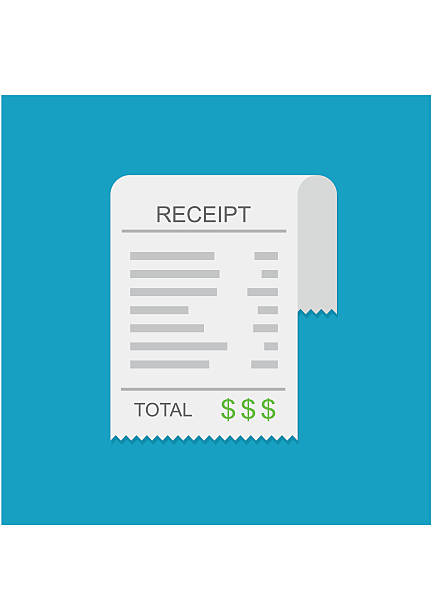 Receipt, invoice icon, total bill with dollar symbol Receipt vector icon in a flat style. Invoice icon, total bill icon with dollar symbol on blue background receipt stock illustrations