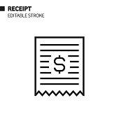 istock Receipt Line Icon, Outline Vector Symbol Illustration. Pixel Perfect, Editable Stroke. 1199087518