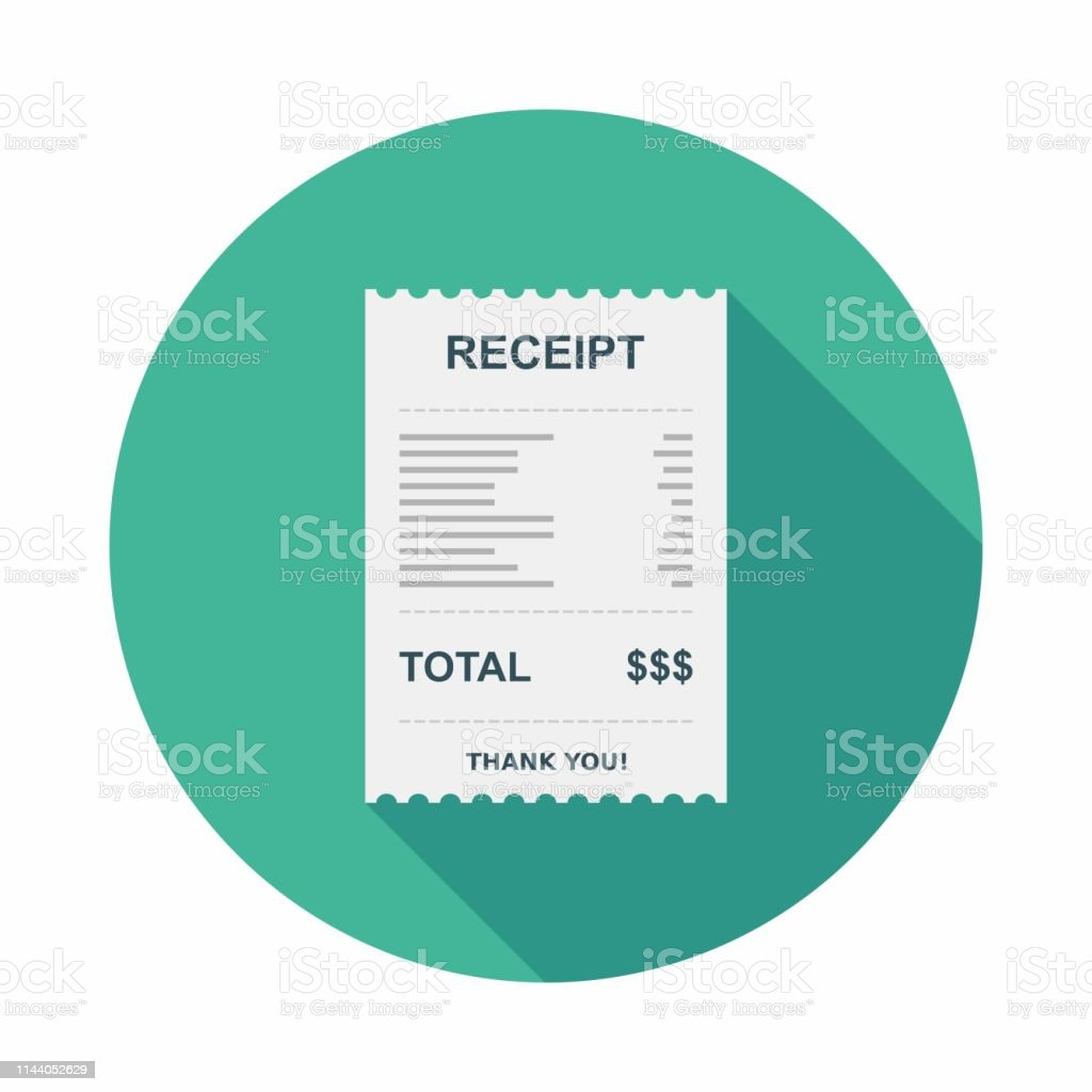 Receipt paper, Bill check, Invoice, Cash receipt, Payment of utility, Vector, Flat icon - arte vettoriale royalty-free di Affari