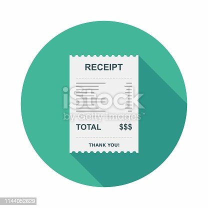 Receipt paper, Bill check, Invoice, Cash receipt, Payment of utility, Vector, Flat icon