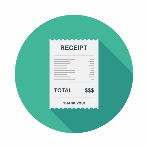 illustrazioni stock, clip art, cartoni animati e icone di tendenza di receipt paper, bill check, invoice, cash receipt, payment of utility, vector, flat icon - scontrino