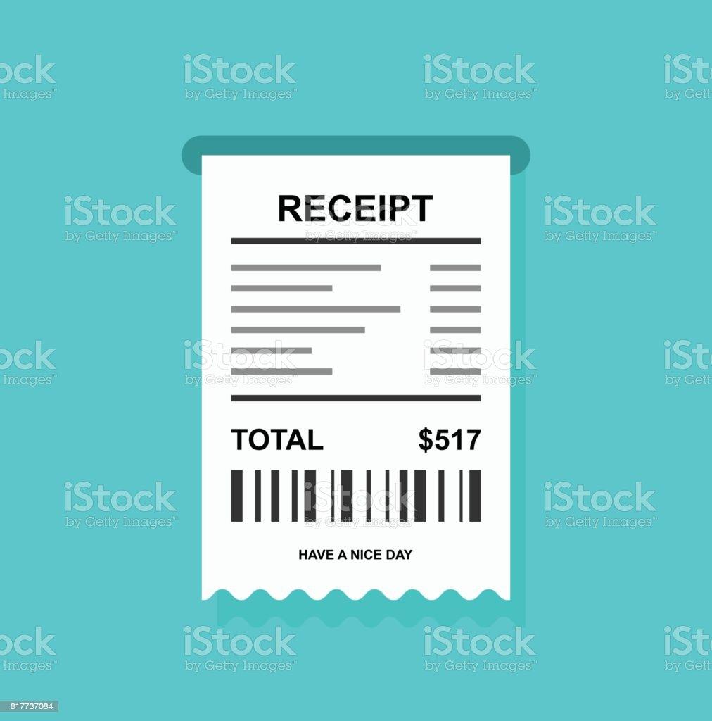 Quittung Einfaches Symbol Mit Barcode Rechnung Stock Vektor Art und ...