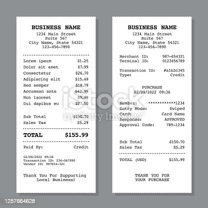 A template for two different types of receipt. File is built in CMYK for optimal printing, and uses only black.