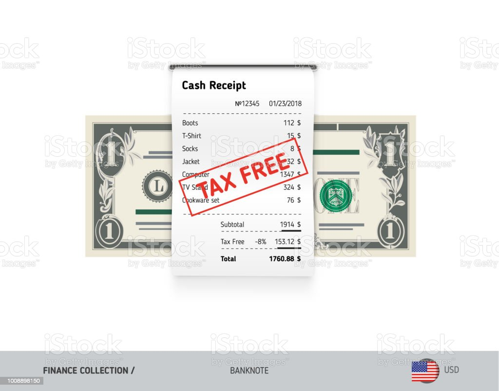 receipt with 1 us dollar banknote flat style sales printed shopping