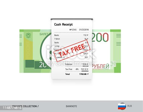 istock Receipt with 200 Russian Ruble Banknote. Flat style sales printed shopping paper bill with red tax free stamp. Shopping and sales concept. 1148774815