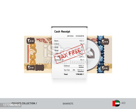 istock Receipt with 200 United Arab Emirates Dirham Banknote. Flat style sales printed shopping paper bill with red tax free stamp. Shopping and sales concept. 1272962825