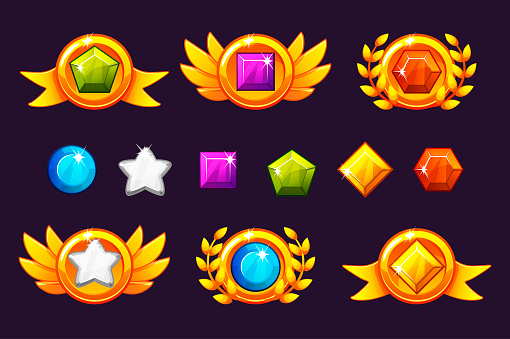 Receiving achievement Awards coin and Gems set, different Awards. For game, user interface, banner, application, interface, slots, game development. interface, banner, application, interface, slots, game development.