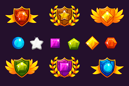 Receiving achievement Awards Shield and Gems set, different Awards. For game, user interface, banner, application, interface, slots, game development.