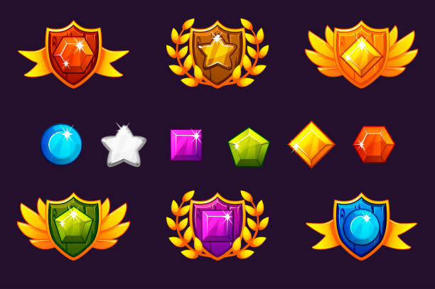 Receiving achievement Awards Shield and Gems set, different Awards. For game, user interface, banner, application, interface, slots, game development. Receiving achievement Awards Shield and Gems set, different Awards. For game, user interface, banner, application, interface, slots, game development. Vector objects on a separate layer. leisure games stock illustrations