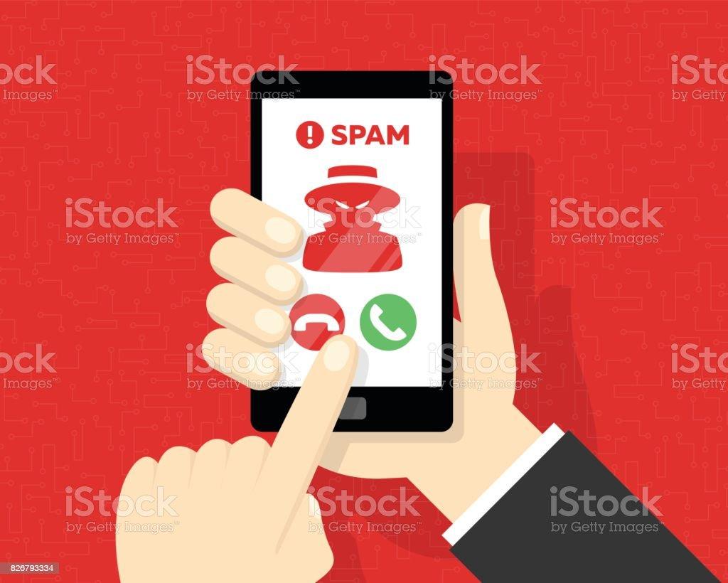 Recibir llamadas de Spam en Smartphone - arte vectorial de Agarrar libre de derechos