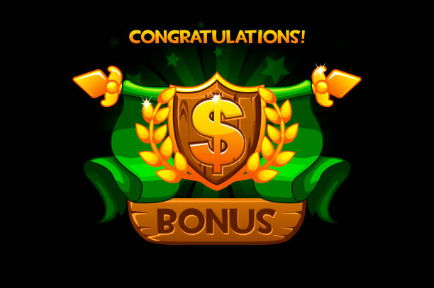 Receiving the cartoon achievement game screen. Vector Award Shield icon. Dollar sign. For game, user interface, banner, application, game development. Receiving the cartoon achievement game screen. Vector Award Shield icon. Dollar sign. For game, user interface, banner, application, game development. Objects on a separate layer. bonus march stock illustrations
