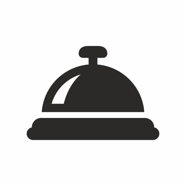 illustrazioni stock, clip art, cartoni animati e icone di tendenza di reception bell icon - hotel checkin