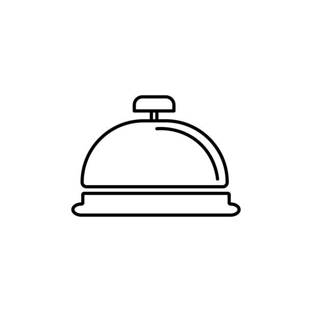reception bell icon vector art illustration