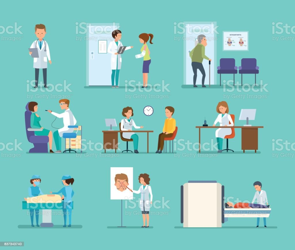 Reception by doctors, therapist, radiologist, surgeon, dentist, oculist, hospital staff vector art illustration