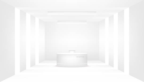 reception counter and interior decorative. reception desk, company entrance. - hotel reception stock illustrations