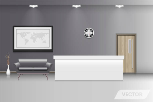 reception counter and interior decorative, vector design - hotel reception stock illustrations