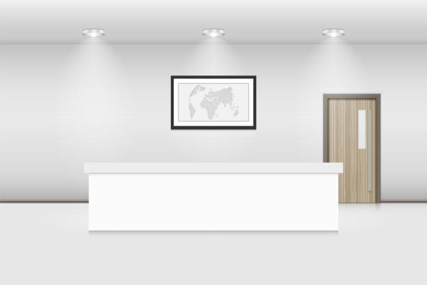 reception counter and interior decorative, vector, illustration - hotel reception stock illustrations