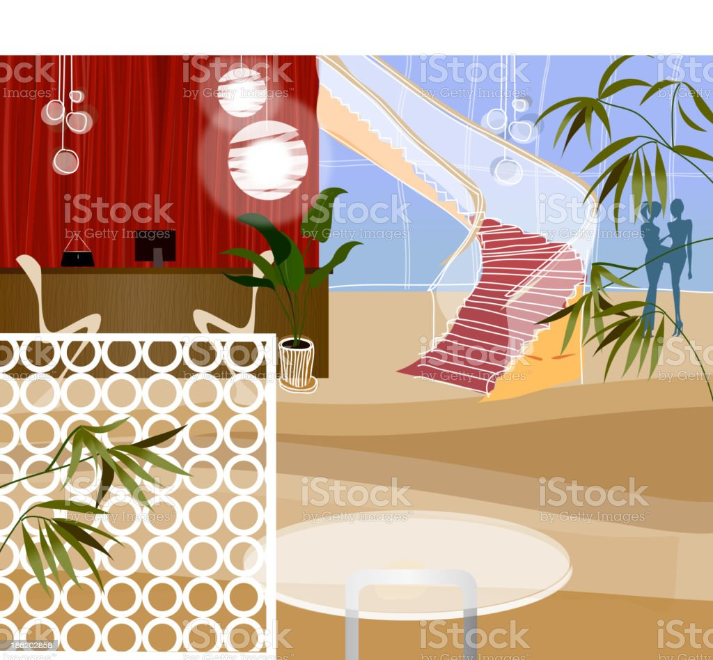 Reception desk at end of corridor royalty-free stock vector art