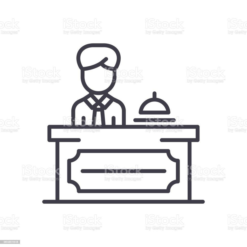 Reception desk black icon concept. Reception desk flat  vector symbol, sign, illustration. royalty-free reception desk black icon concept reception desk flat vector symbol sign illustration stock vector art & more images of adult