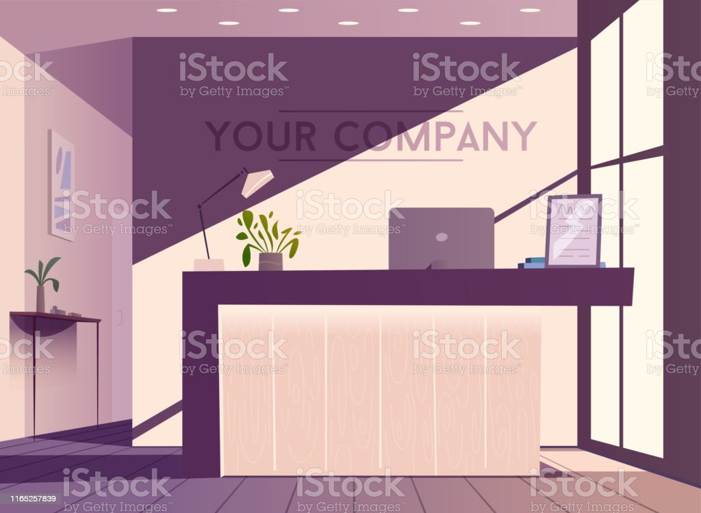Reception Desk Cartoon Vector Illustration Interior Design Stock Illustration Download Image Now Istock