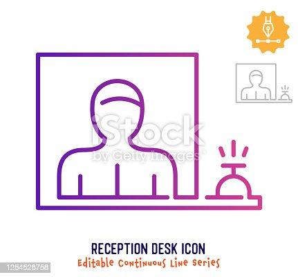 istock Reception Desk Continuous Line Editable Stroke Line 1254528758