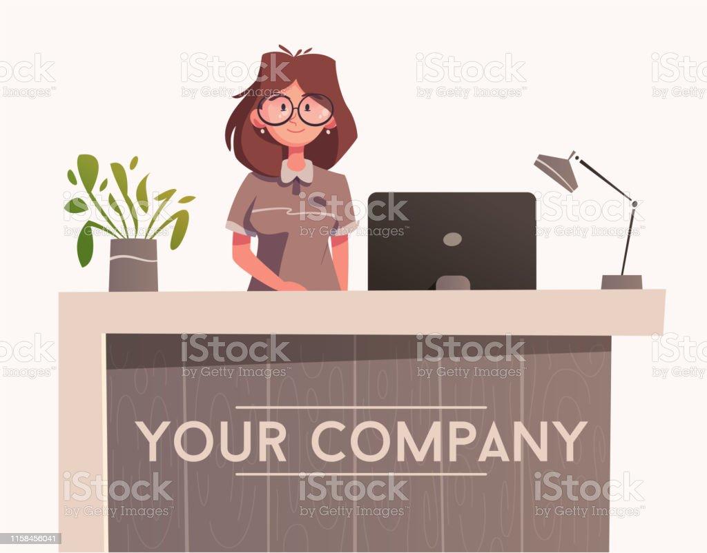 Reception Desk Hotel Receptionist Character Cartoon Vector Illustration Stock Illustration Download Image Now Istock