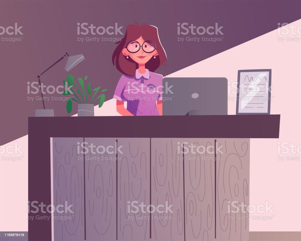 Reception Desk Hotel Receptionist Character Cartoon Vector Illustration Stockowe Grafiki Wektorowe I Wiecej Obrazow Administrator Istock
