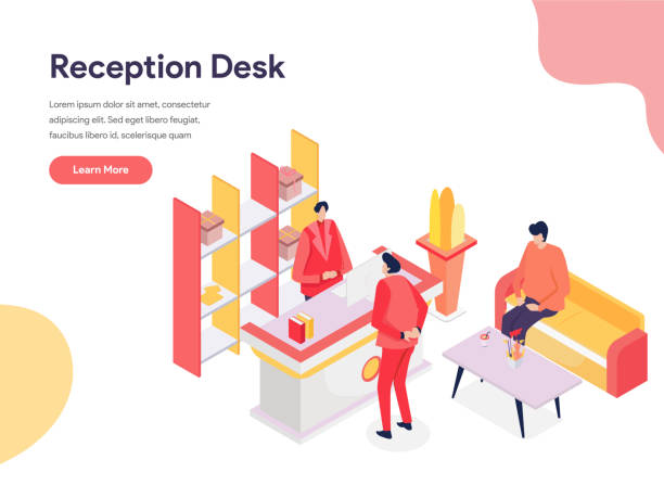 reception desk illustration concept. isometric design concept of web page design for website and mobile website.vector illustration - hotel reception stock illustrations