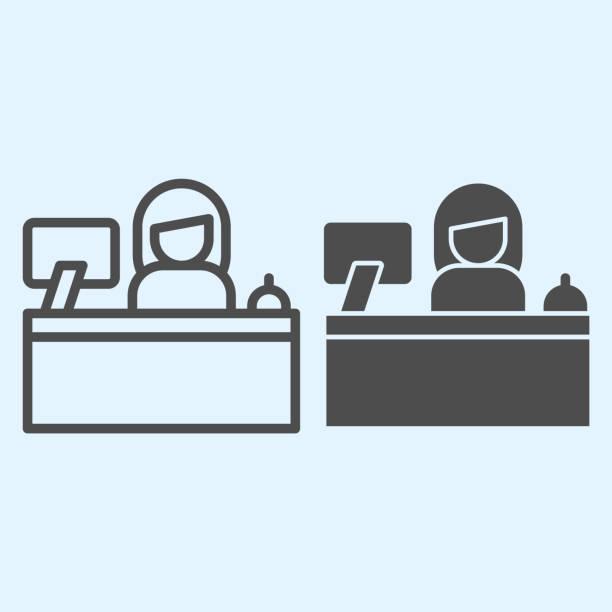 bildbanksillustrationer, clip art samt tecknat material och ikoner med receptionsdisklinje och fast ikon. hotellservice med kvinnlig kontorist och övervaka. horeca vektor designkoncept, disposition stil piktogram på vit bakgrund, användning för webb och app. eps 10. - endast en man