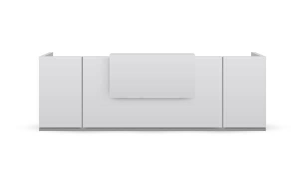 resepsiyon masası mockup beyaz arka plan izole - hotel reception stock illustrations