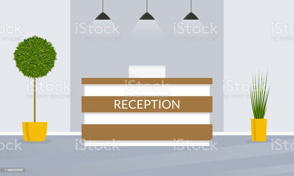 Reception Desk Office Hotel Lobby Interior Design Vector Illustration Stock Illustration Download Image Now Istock