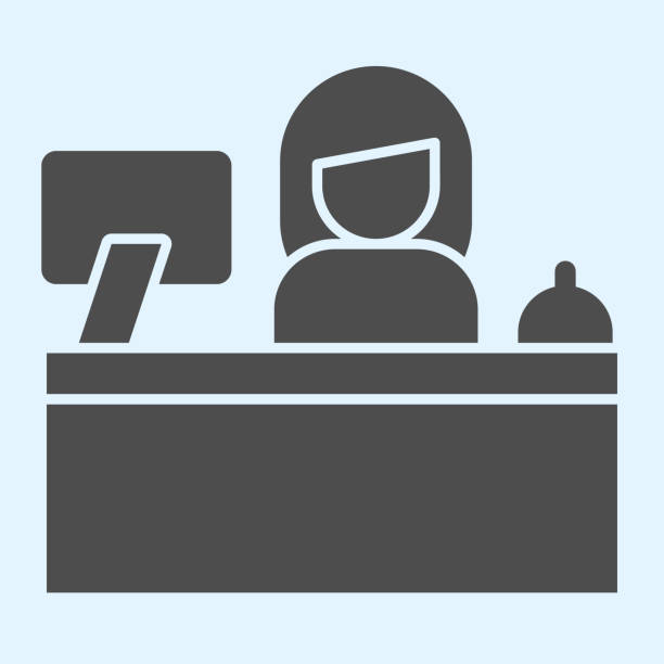 bildbanksillustrationer, clip art samt tecknat material och ikoner med receptionsdiskens heltäckande ikon. hotellservice med kvinnlig kontorist och övervaka. horeca vektor designkoncept, glyph stil piktogram på vit bakgrund, användning för webb och app. eps 10. - endast en man