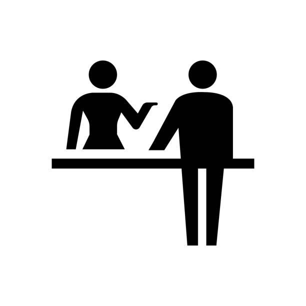 resepsiyon, resepsiyon, iade counter simge / genel bilgi simgesi - hotel reception stock illustrations