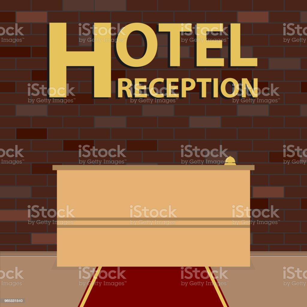Reception hotel. Reception desk in front of the brick wall. The Red carpet. reception hotel reception desk in front of the brick wall the red carpet - stockowe grafiki wektorowe i więcej obrazów biały royalty-free
