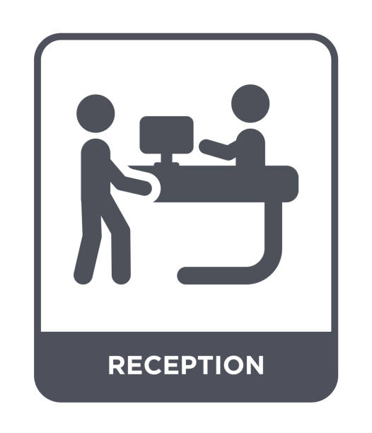 reception icon vector on white background, reception trendy filled icons from hotel and restaurant collection - hotel reception stock illustrations